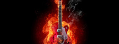 guitar, music, fire