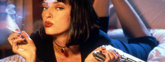 фильмы, pulp fiction, uma thurman, пистолет