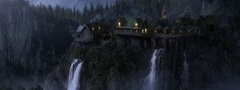 the lord of the rings, rivendell, imladris, fantasy, elven castle, waterfal ...