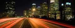 city, night, lights, LA, road