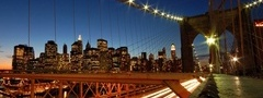 city, night, lights, brooklyn bridge