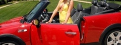 sara jean underwood, mini cooper, красный