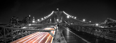 NYC, city, night, road, ights, brooklyn bridge