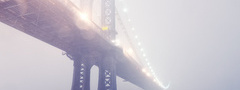manhattan bridge, new york, winter, lights