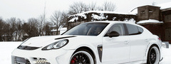panamera, winter, white