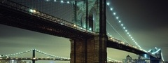 night, brooklyn bridge, lights