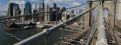 new york, city, brooklyn bridge, action