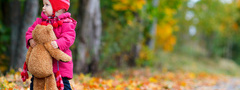 little girl, child, children, childhood, trees, road, teddy bear, autumn, l ...