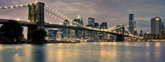 мост, brooklyn bridge, manhattan, город, new york