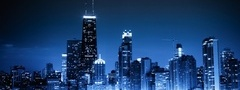 Chicago, blue night, city, lights