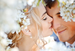 wedding, the couple, love, feelings, flowers, tender