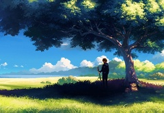 tree, summer, boy, anime