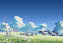 Makoto Shinkai, rails, shed, sky, clouds, the clouds