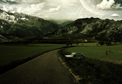 mountains, sky, road, man, the machine