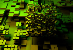 3D, Abstract, Green