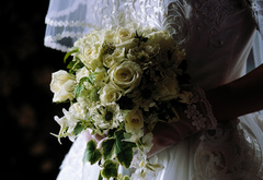 Veil, bouquet, wedding