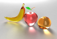 glass, apple, banana