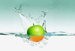 water, apple, orange