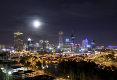 night, city, lights, moon