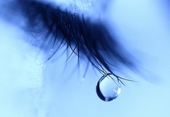 blue, tear, eyelashes