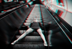 sexy, girl, subway, escalator, fashion, 3d