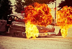 infernal, car, in a flame
