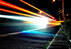 night, road, lights