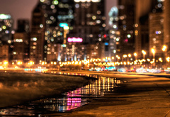 night, city, lights