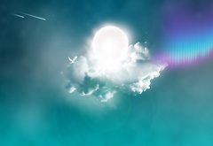 Cloud, a dove, the sun