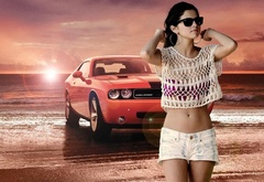 girl, car, dodge, chellenger