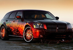 dodge, car, fire