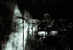 rock show, drummer, smoke, drums, music