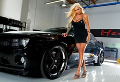 chevrolet, camaro, black, girl